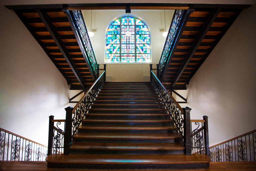 Mount Memorial stairs and stained glass window