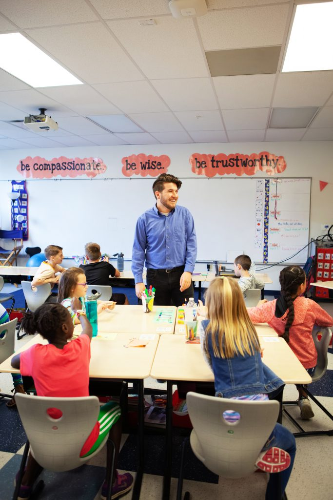 Student teaching in elementary classroom