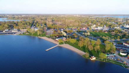 Aerial view of Center Lake Park