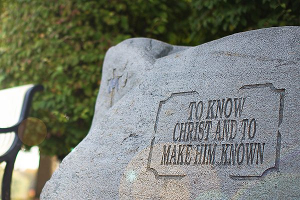 Biblical Worldview statement engraved on rock
