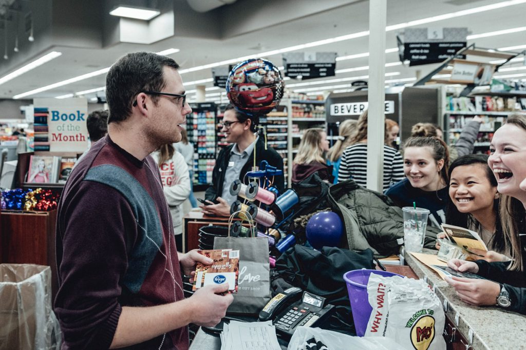 Students at supermarket sweep